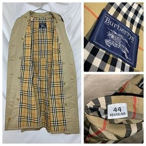 Vintage Burberry Nova Plaid Beige Trench Coat 44R